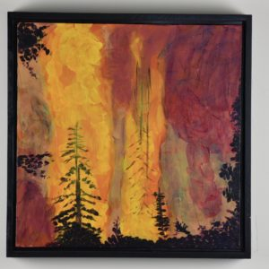 Framed view of Pines burn in a roaring blaze as a fire consumes the forest. Yellow, Orange, Red, purple. Large Painting by artist Donald Ryker in textured expressionist impressionist art style with unique impasto glaze technique.