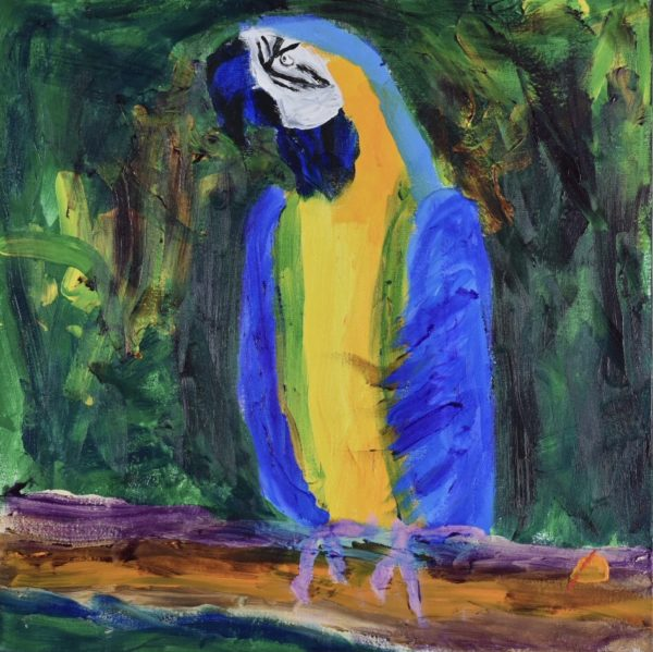 A blue and yellow parrot sits tall on a tree branch sternly keeping watch over his jungle surroundings. Blue, yellow, purple, green orange. Large Painting by artist Donald Ryker in textured expressionist impressionist art style with unique impasto glaze technique.