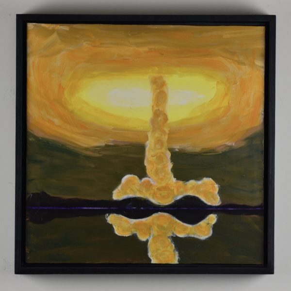 Framed view Sunlight glows through the vortex of a swirling golden tornado with a reflection in the water in the foreground. Gold, Yellow, Peach, green purple. Large Painting by artist Donald Ryker in textured expressionist impressionist art style with unique impasto glaze technique.