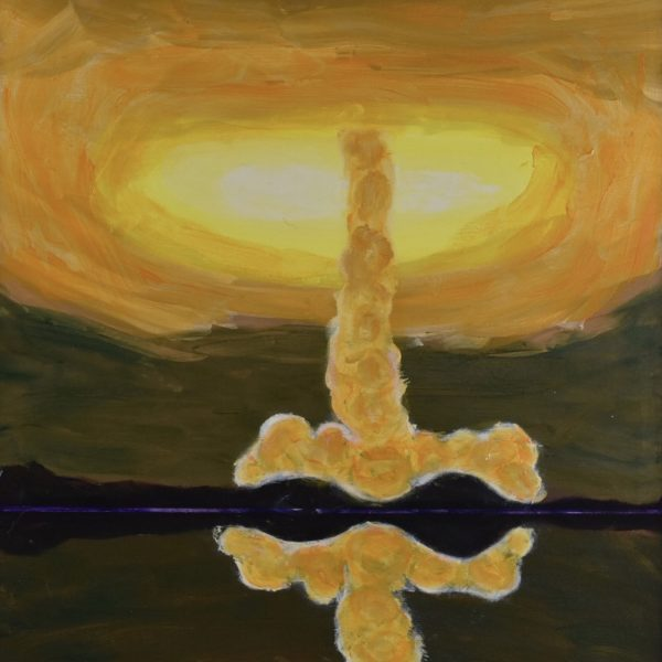 Sunlight glows through the vortex of a swirling golden tornado with a reflection in the water in the foreground. Gold, Yellow, Peach, green purple. Large Painting by artist Donald Ryker in textured expressionist impressionist art style with unique impasto glaze technique.