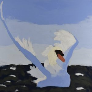 A lavender swan with wings spread settles onto the ocean with a periwinkle sky in the background. Ocean. Purple, pastel, white. Large Painting by artist Donald Ryker in textured expressionist impressionist art style with unique impasto glaze technique.