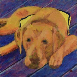 Teenage yellow lab puppy wearing a training vest waits on a purple deck. Orange, Yellow, Purple. Large Painting by artist Donald Ryker in textured expressionist impressionist art style with unique impasto glaze technique.