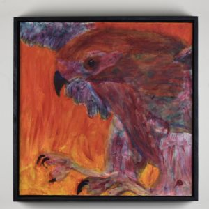 Framed View of a ruby red Hawk descending through flames with talons outstretched. Red, Orange, Purple. Large Painting by artist Donald Ryker in textured expressionist impressionist art style with unique impasto glaze technique.