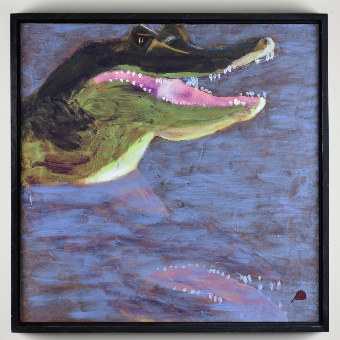 Monet's Water Lilly colors in the fierce form of a crocodile with a reflection in the lake water. brown Green, Pink, blue. Large Painting by artist Donald Ryker in textured expressionist impressionist art style with unique impasto glaze technique.