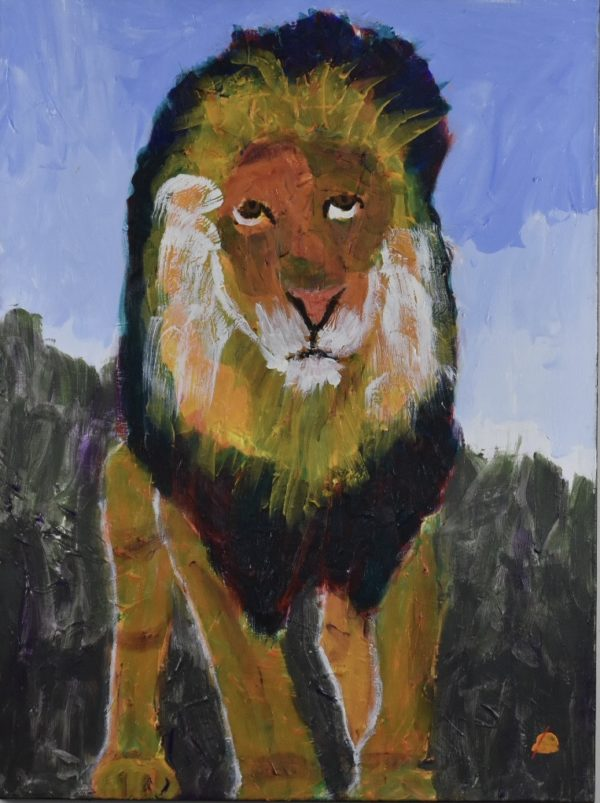 The full figure of a somber lion paces forward against a green mountain background and periwinkle blue sky. Mountain. Gold, Yellow, Purple, Green, Blue. Large Painting by artist Donald Ryker in textured expressionist impressionist art style with unique impasto glaze technique.