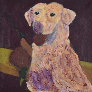 Excited yellow lab hunting dog in the foreground with boat, gun, and trophy in the background. Golden, dark neutrals. Large Painting by artist Donald Ryker in textured expressionist impressionist art style with unique impasto glaze technique.