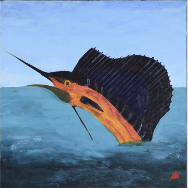 A glowing swordfish leaping out of the ocean. Large Painting by artist Donald Ryker in textured expressionist impressionist art style with unique impasto glaze technique.