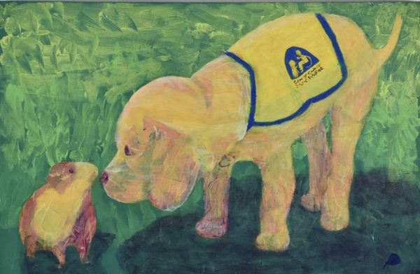 A Future service dog puppy meeting a guinea pig on the grass. Gold, Peach, Lavender, green, yellow. Large Painting by artist Donald Ryker in textured expressionist impressionist art style with unique impasto glaze technique.