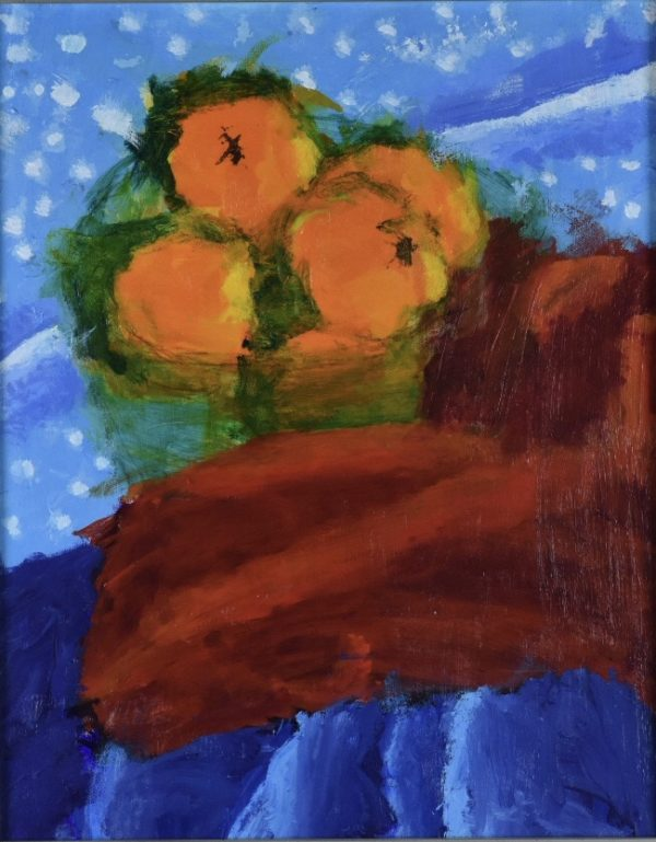 A still life of oranges in a green glass bowl on red and blue fabric. Large Painting by artist Donald Ryker in textured expressionist impressionist art style with unique impasto glaze technique.