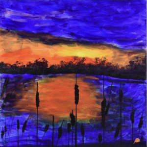 A vivid purple and orange sunset on the lake with pussy willows silhouetted in the the foreground. Mountain Forest. Pinetop, AZ. Purple, Orange. Large Painting by artist Donald Ryker in textured expressionist impressionist art style with unique impasto glaze technique.
