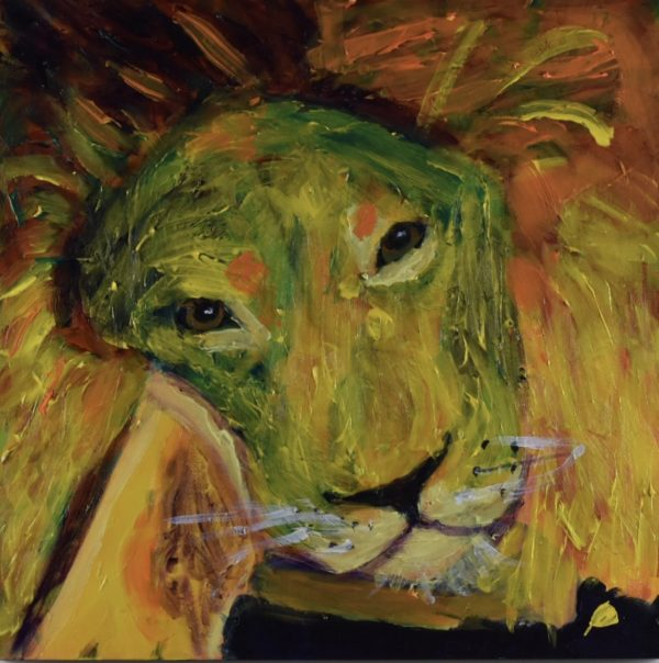 A resting lion lies with his head on his paws looking up with sleepy eyes. Jungle. Yellow, Orange. Large Painting by artist Donald Ryker in textured expressionist impressionist art style with unique impasto glaze technique.