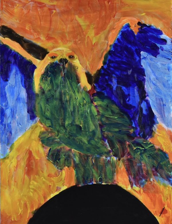 A vibrantly colored bird of prey stands with wings outspread highlighted by flames. Fire. Green Blue, Black, Yellow, Orange, Red. Large Painting by artist Donald Ryker in textured expressionist impressionist art style with unique impasto glaze technique.