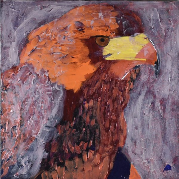 A stern looking orange toned Hawk in profile with mists swirling about. Mountain. Orange, red, yellow. Large Painting by artist Donald Ryker in textured expressionist impressionist art style with unique impasto glaze technique.