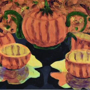 A Halloween themed tea set is displayed on a dark tablecloth with an orange stain-glassed window in the background. Orange, yellow, green, purple. Large Painting by artist Donald Ryker in textured expressionist impressionist art style with unique impasto glaze technique.