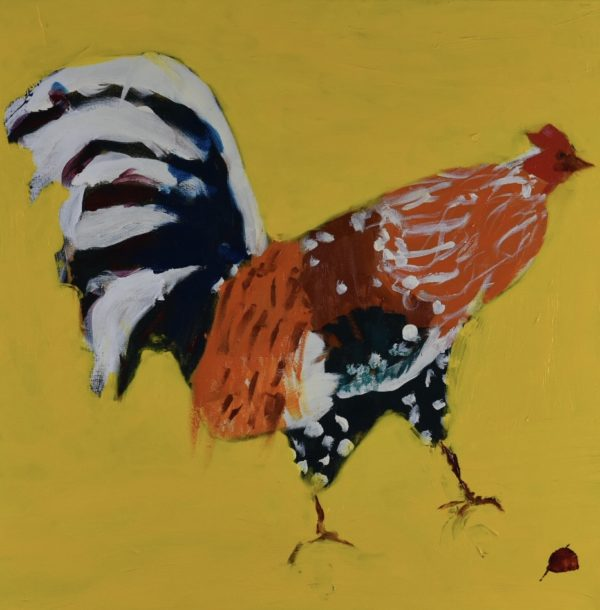 A Colorful rooster walking on a yellow background. Large Painting by artist Donald Ryker in textured expressionist impressionist art style with unique impasto glaze technique.
