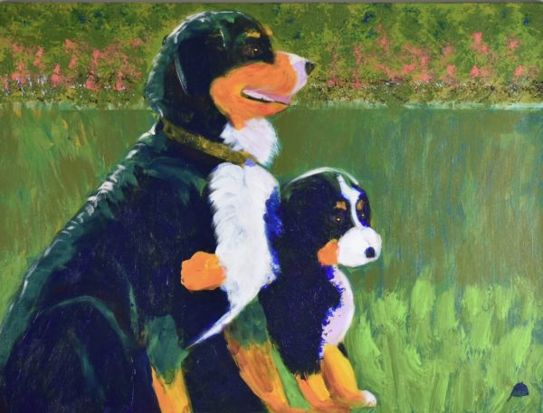A Bernese mountain dog puppy and adult sit on a grassy lawn with impressionist coral flowers in the background. Blue, Orange, White, Green, Yellow. Large Painting by artist Donald Ryker in textured expressionist impressionist art style with unique impasto glaze technique.