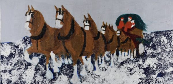 A team of Clydesdale horses are pulling the Christmas Tree home from the snowy mountains. Mountains. Brown, Navy, Gray, White. Large Painting by artist Donald Ryker in textured expressionist impressionist art style with unique impasto glaze technique.