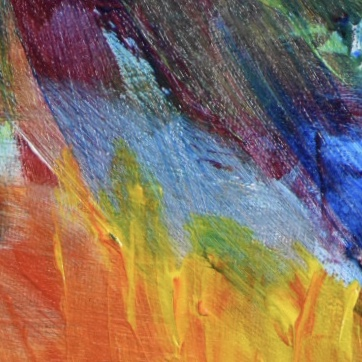 Close-up of A vibrantly colored bird of prey stands with wings outspread highlighted by flames. Fire. Green Blue, Black, Yellow, Orange, Red. Large Painting by artist Donald Ryker in textured expressionist impressionist art style with unique impasto glaze technique.