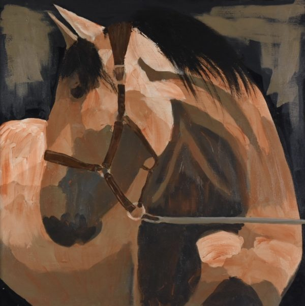 A stately mare wearing halter and lead rope bending her neck to look to the side. Western. Orange, Brown, Neutral tones. Large Painting by artist Donald Ryker in textured expressionist impressionist art style with unique impasto glaze technique.