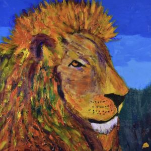 Profile of a dignified majestic lion in rainbow stained-glass colors with a backdrop of blue skies and forest. Large Painting by artist Donald Ryker in textured expressionist impressionist art style with unique impasto glaze technique.