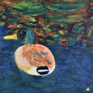 A single duck paddles near a multi-colored lake shore. Mountain Forest. Pinetop, AZ. Blue, peach, multi-colored. Large Painting by artist Donald Ryker in textured expressionist impressionist art style with unique impasto glaze technique.