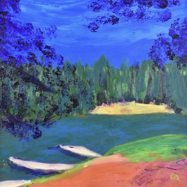 Sunny summer blue skies, green forest, and flowing waters are the backdrop to a path leading down the riverbank to the canoes and kayaks awaiting paddlers. Mountain forest. Pinetop, AZ. Blue, green, orange. Large Painting by artist Donald Ryker in textured expressionist impressionist art style with unique impasto glaze technique.