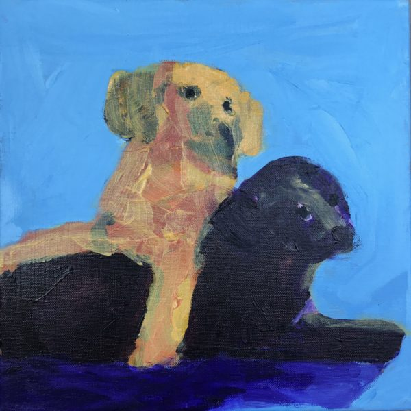 A yellow Lab puppy and a black lab puppy pause in their wrestling. Purple, Gold, Blue. Large Painting by artist Donald Ryker in textured expressionist impressionist art style with unique impasto glaze technique.