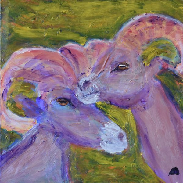 Two big-horned rams stand close as they keep their eye on the world around them. Mountain wilderness. Golden green, lavender taupe, coral pink. Large Painting by artist Donald Ryker in textured expressionist impressionist art style with unique impasto glaze technique.