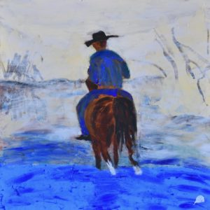 A horse and rider cross a stream in the early morning mist. Western. Blue, neutral, burnt Sienna. Large Painting by artist Donald Ryker in expressionist impressionist style with unique impasto glaze technique.