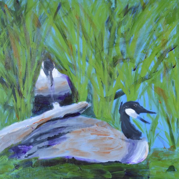 Reeds and driftwood beside the lake provide a safe resting place for two geese. Mountain Woodland. Pinetop, AZ. Blue, green, gray. Large Painting by artist Donald Ryker in textured expressionist impressionist art style with unique impasto glaze technique.