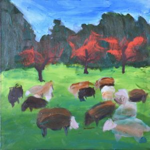 A flock of sheep graze peacefully in a shadowed and sunlit meadow with vidid red trees and forest in the background. Pastoral. Blue, green, red, and neutral. Large Painting by artist Donald Ryker in expressionist impressionist art style with unique impasto glaze technique.