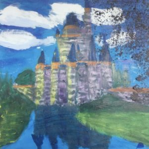 A sunlit castle reaches the clouds casting a reflection in the foreground waters. Fantasy. Blue, lavender, green. Large Painting by artist Donald Ryker in expressionist impressionist art style with unique impasto glaze technique.