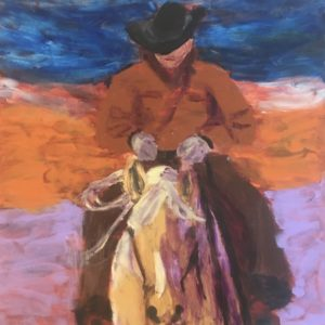A horse and rider return home after a long day. Western. Blue, orange, lavender, Burnt Sienna. A Large painting by artist Donald Ryker in expressionist impressionist style with unique impasto glaze technique.