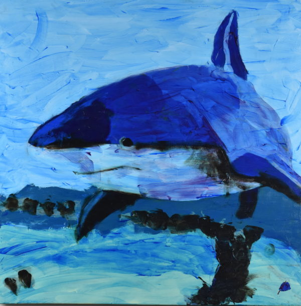 A shark glides through ocean waters. Cool tints of phalo blue. Large painting by artist Donald Ryker in expressionist impressionist style with unique impasto glaze technique.