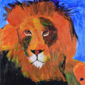 An Orange lion with orange and dark mane turns his head to look. Jungle. Orange, Purple, Blue. Large Painting by artist Donald Ryker in textured expressionist impressionist art style with unique impasto glaze technique.