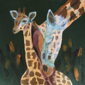 A Mother giraffe nuzzles her baby. Hunter Green and Golden Orange. Large painting by artist Donald Ryker in expressionist impressionist style with unique impasto glaze technique.